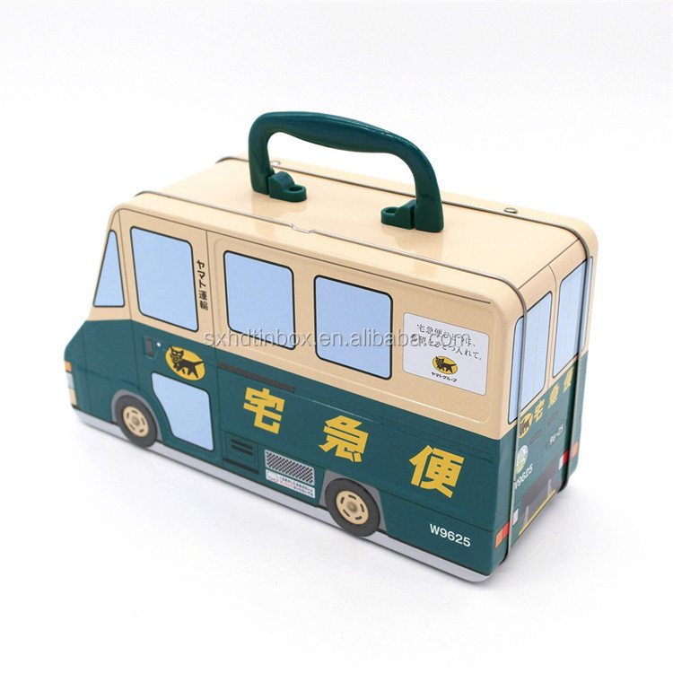 tin money box with lock and key bus coin bank