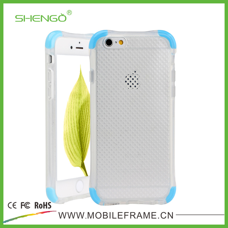 SHENGO Hot Selling Silicone 2 in 1 Drop proof Case, Clear Soft TPU inner colorful D3O mobile case for iphone 6/6plus