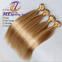 New products wholesale 6a peruvian hair Straight sew in human hair extensions blonde