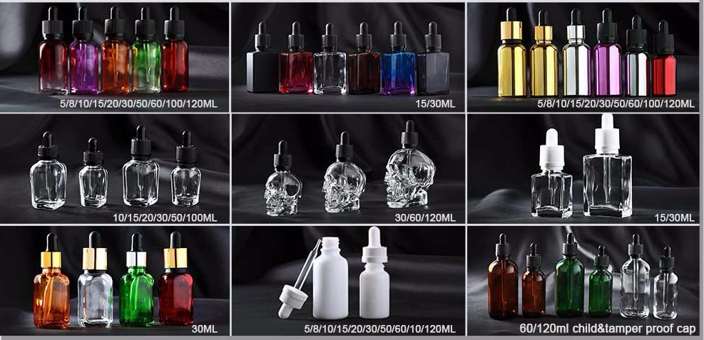 1/2oz 1 oz matte white black red glass e liquid dropper bottle with bamboo lid