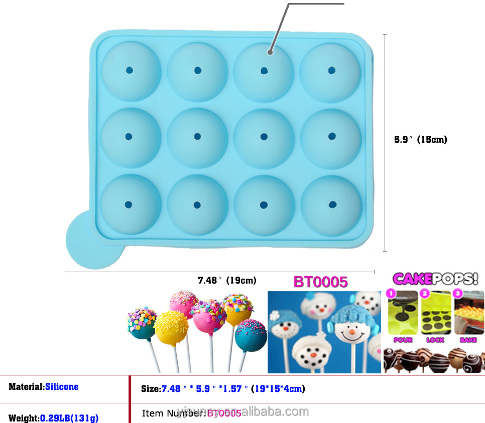 1.5 inch diameter Silicone Baking mold cake decoration 12 cavity Silicone Cake 12 Cups Mini lollipop Mold Round Shape Ice cube