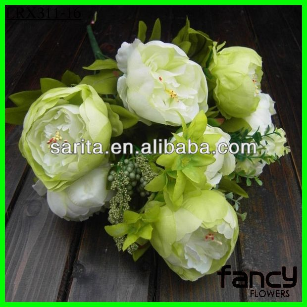 12 heads spring artificial decorative peony flowers