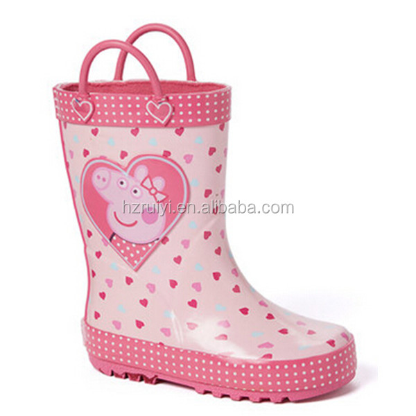 popular wholesale OEM colorful sweety printed animate girl style rubber shoes gum rain boots with rain handler