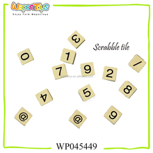 OEM educational scrabble game tiles sale in bulk number and letter tiles plastic craft scrabble tiles