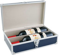 aluminum profile fireproof shell wine bottle case carrying case with lock and handle