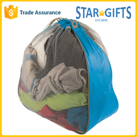 High Quality Custom Two Tone Nylon Mesh Portable Laundry Bags With Logo Printed