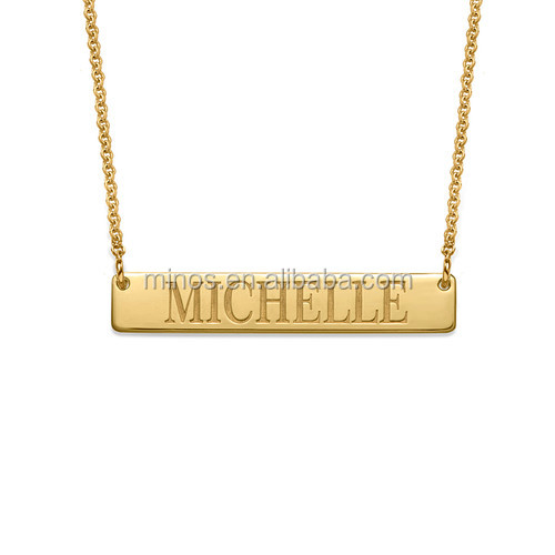 Stainless Steel Gold Bar Necklace Name Engraved Bar Necklace in 18k Gold Plating