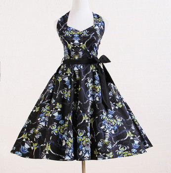 online china shop lady fashion knee length floral print vintage style sexy evening dress