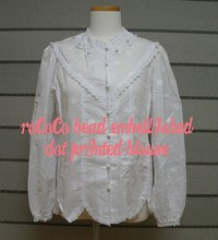 WOMEN BLOUSE > ROCOCO BEAD EMBELLISHED DOT PRINTED BLOUSE ( WHITE )