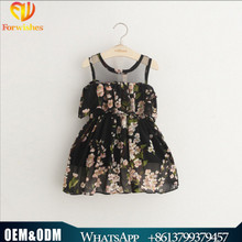 Summer kids clothes 3 to 8 years flower chiffon sleeveless dress baby stylish frock new model girl dress