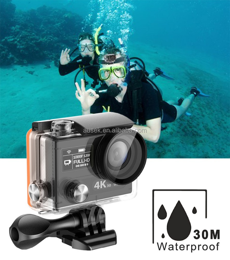 Wifi 1080P 120fps 4K Ultra HD Sports Action Camera 2.0 inch Waterproof Video Camera Helmet Camcorder with 1050 mah Batteries