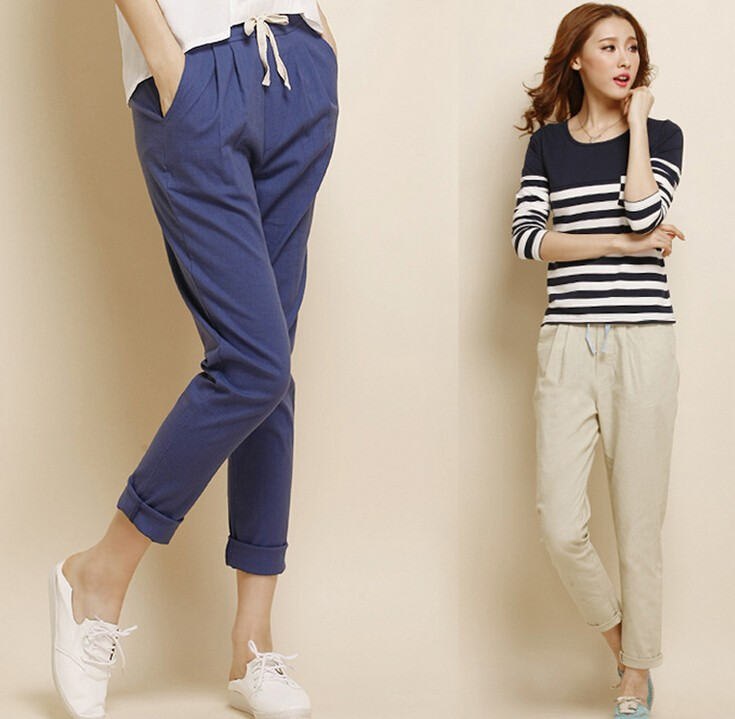 C20010B Wholesale Women Plain Colors Harem Pants