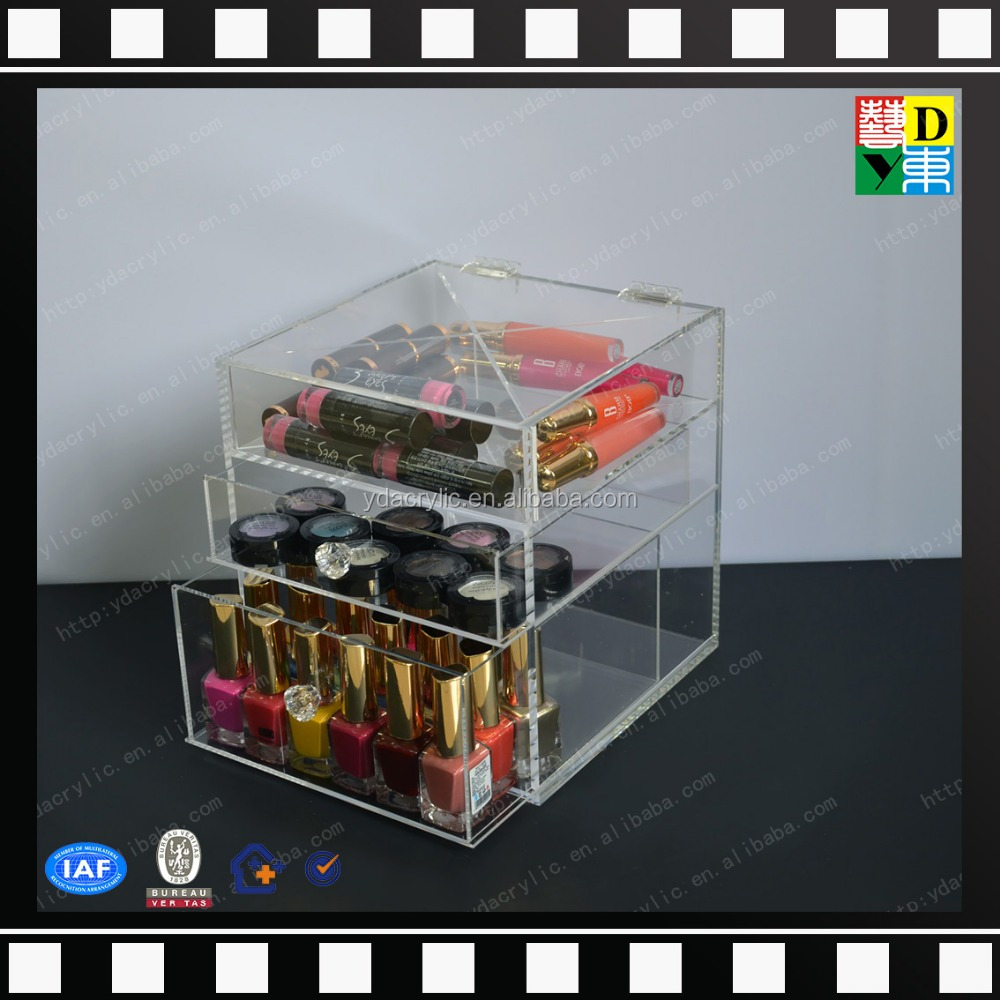 2016 clear acrylic makeup cosmetics storages with compartments, large acylic drawer case
