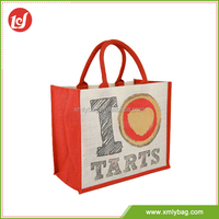 China famous factory cheap whoilesale tote jute printed shopping bags