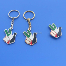Victory hand keychain and badge for UAE national Day, UAE flag logo finger shape key holder and pin emblem