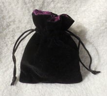 Satin Lined Velvet Drawstring Pouch, Black Velvet Pouch For Dice