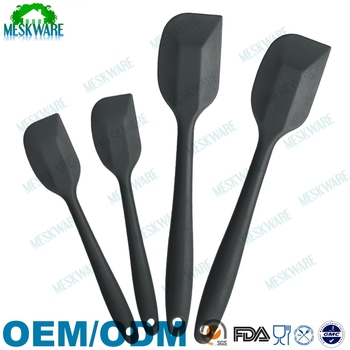 High quality stainless steel core precision kitchen spatula, 4 pieces silicon spatula