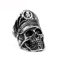 American jewelry punk style soldier captaion skull rings antique 316l stainless steel mens fashion cool boy gothic skull rings