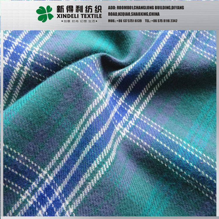Yarn dyed Green check 150g/m2 100% cotton shirting fabric for sale