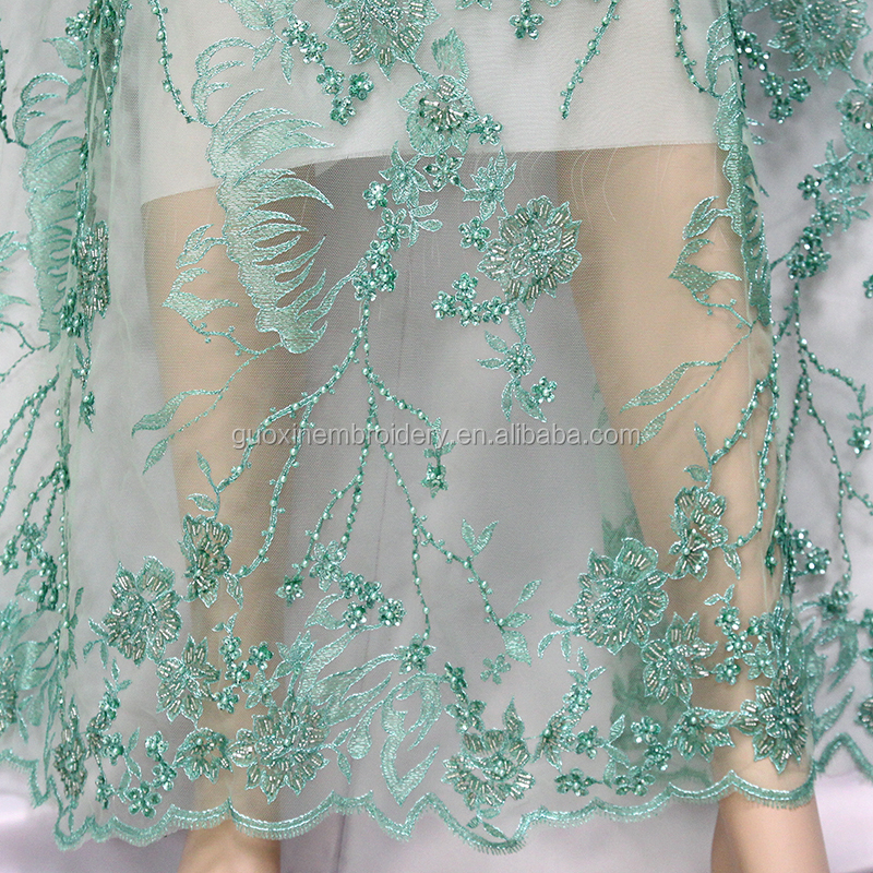 2018 Embroidery wedding net Lace fabric /3D handwork French tulle lace/ /bridal beaded lace