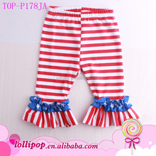 Unique Baby Names Girls Patriotic 4th of July American flag double Ruffled Bottom red blue stars soft children baby ruffle pants