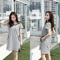 Stripe short women clothes,casual lady clothes,factory directly sale clothes