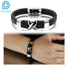 2016 fashion Stainless Steel leather Bracelet Wholesale high Quality mens leather bracelet