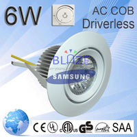 Super Bright No need driver Dimmable Samsung 6w round led ceiling light AC COB 6W-30w downlight