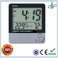 TL8001B 2016 Hot Selling Bilg LCD Room Thermometer Hygrometer Clock Indoor Use