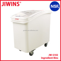NSF Approval 102L Mobile Plastic Food Storage Ingredient Bins Rice Bucket Flour Bins