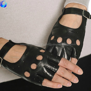 Fancy ladies black unlined custom fingerless sheepskin driving gloves