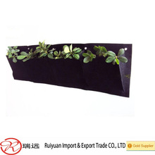 4 Pockets Horizontal Garden Wall Hanging Felt Flower Grow Bag