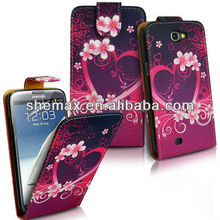 Hot sale Love Heart For samsung note2 case,leather case for Note2 n7100