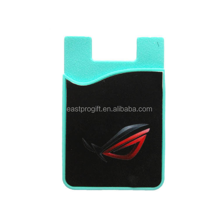 custom logo color silicone smart phone wallet with single card pocket