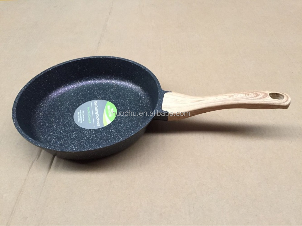 die cast die-cast aluminum marble stone coating frying pan with Grain bakelite handle