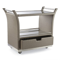 Restaurant hotel mobile table with storage drawer for outdoor dinner PE rattan serving cart