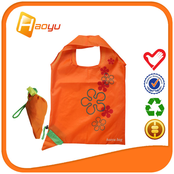 2016 New products carrot shape foldable polyester tote bag