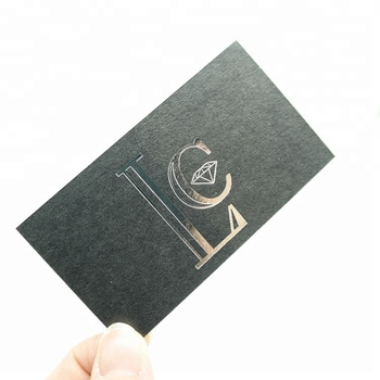 Custom silver foil gold hot stamping thick black card business cards with silver edge