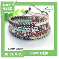 New products 2016 bead bracelet , natural stone bracelet leather wrap bracelet