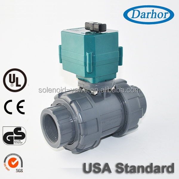 DC12V 24V AC220V electric DN50 2 inch PVC motorized ball valve