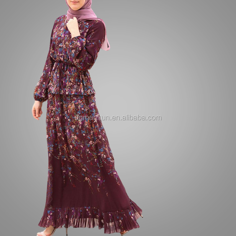 Pakistani Dress Design Salwar Kameez Modern 2019 New Style Printing Floral Maxi Dresses Islamic Clothing