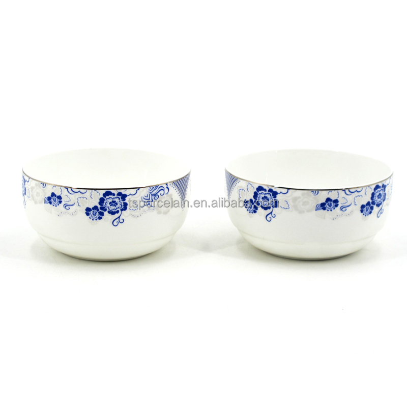 "4.5"" 5"" 5.5"" 6"" 7"" 8"" blue and white flower bowl set,fine bone china decal bowl"