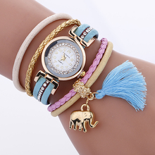 2981 Elephant Pendant Magnet buckle Women Rhinestone Bracelet Watches Casual Fabric Classic luxury brand watch