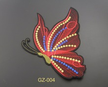 Butterfly style custom embroidered 3d flock sublimation patch for uniforms