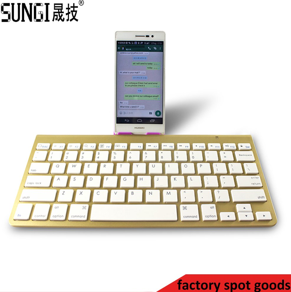 Slim gold color mini wireless bluetooth keyboard for ipad/iphone