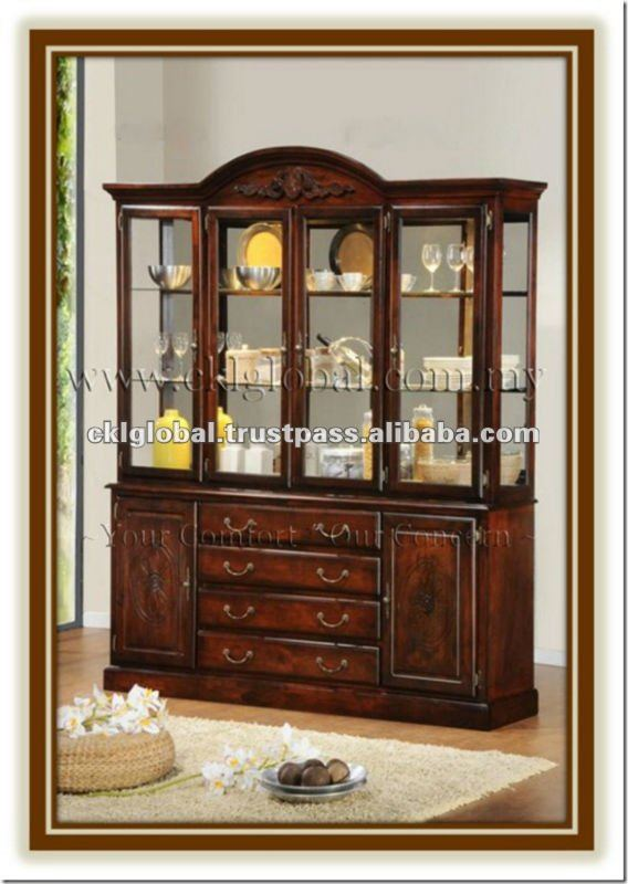 buffet and hutch , wooden furniture , dining room , home furniture , solid rubber wood dining set , CKL 4065