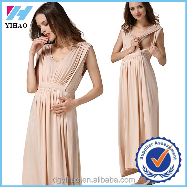 Yihao 2017 wholesale sleeveless Maternity Clothing Long Nursing pregnant dress for Pregnant Women