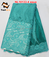 believewin fashion lace tulle lace for african wedding dress of NL10133-4 in aqua