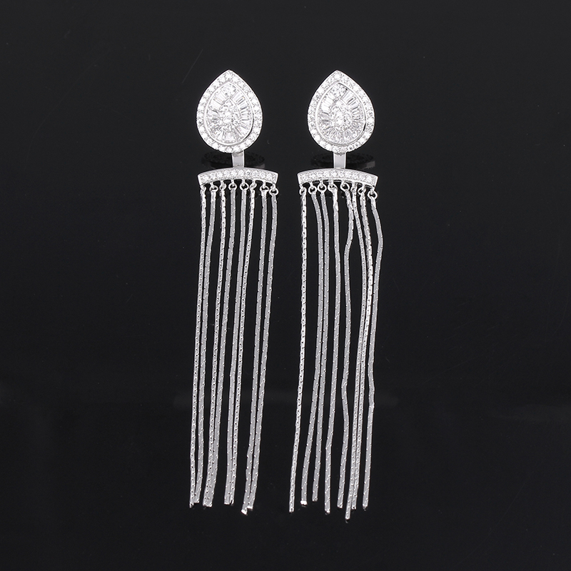 New Silver Tone AAA Zirconia Long Chain Tassel Drop Cuff Earrings Fringe Ear Earring Jacket for Women