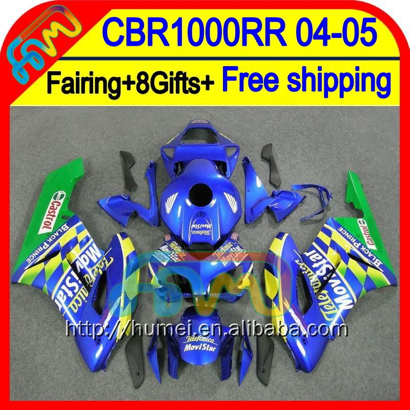 8Gifts For HONDA CBR 1000RR 2004 2005 Injection 36HM109 Movistar Blue CBR1000 RR 1000 RR CBR1000RR 04 05 04-05 Fairing Green